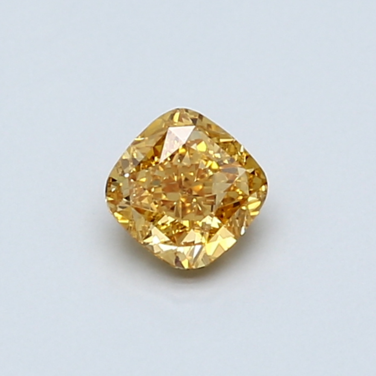 0.43-Carat Vivid Yellow-orange Cushion Cut Diamond