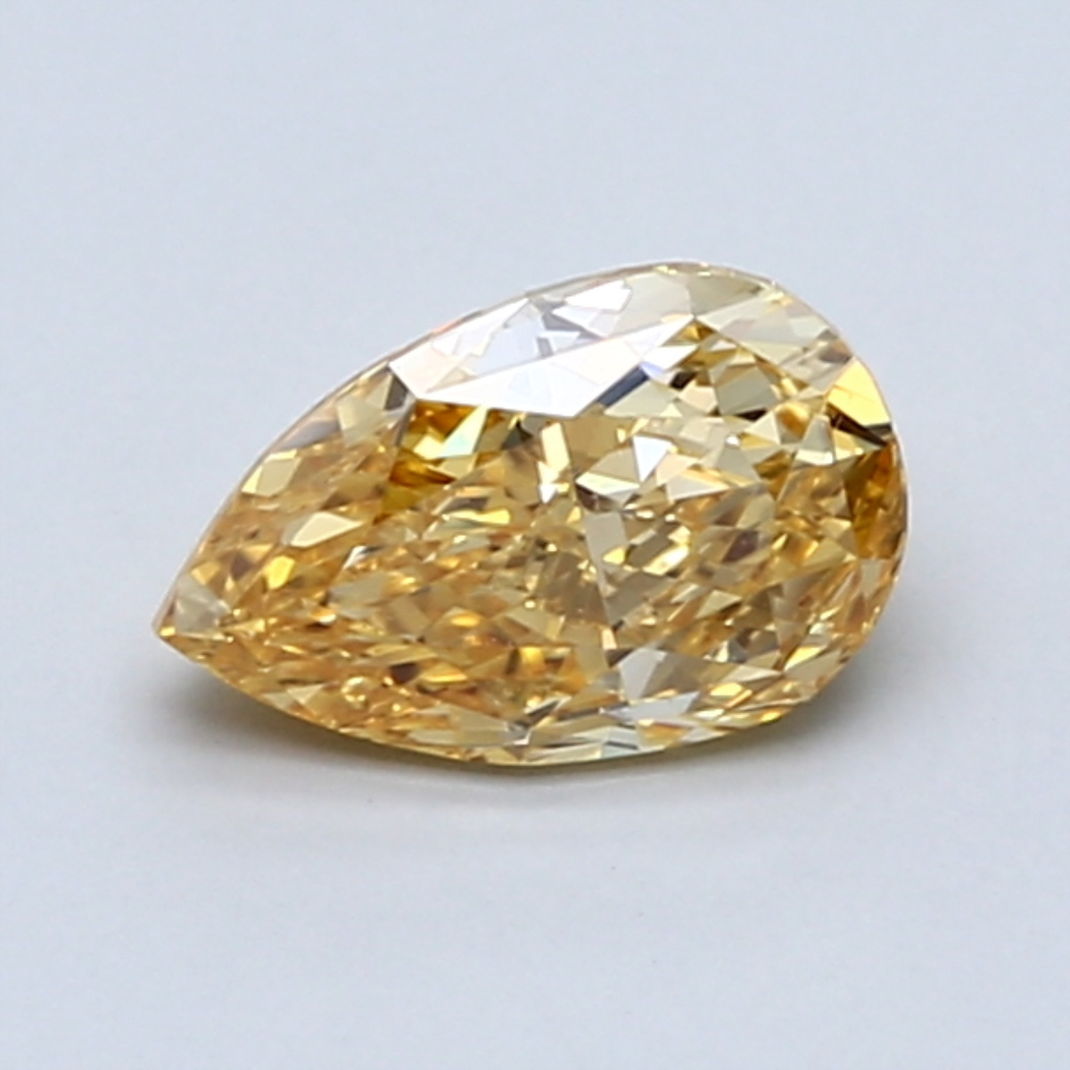0.83-Carat Intense Yellow-orange Pear Shaped Diamond