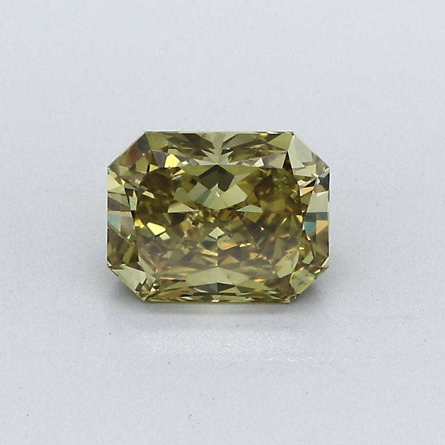 1.12-Carat Deep Brownish Greenish Yellow Radiant Cut Diamond
